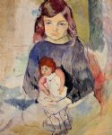 young girl with a doll by jules pascin painting