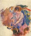 young woman putting on her socks by jules pascin painting