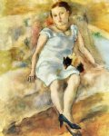 young woman with a little dog by jules pascin painting