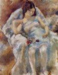 zinah with flowers by jules pascin painting