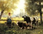 julien dupre a milkmaid with her cows on a summer day paintings
