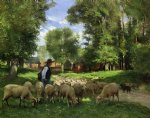 a shepherd and his flock by julien dupre painting