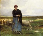 julien dupre a shepherdess with her flock painting