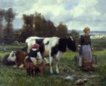 julien dupre milkmaids in the field painting