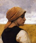 julien dupre peasant woman in profile painting