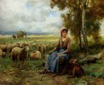 julien dupre shepherdess watching over her flock painting