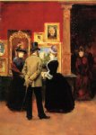 count ludovic leic and ladies viewing an exhibition by julius leblanc stewart painting