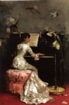 julius leblanc stewart young woman at piano painting