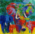 leroy neiman elephant charge paintings