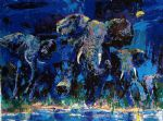 elephant oil paintings - elephant nocturne by leroy neiman