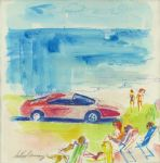 leroy neiman ferrari on the beach painting