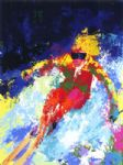 lady skier by leroy neiman painting