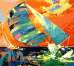 leroy neiman orange sky sailing painting