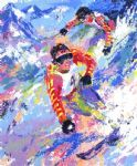 skiing twins by leroy neiman painting