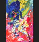 sliding home by leroy neiman painting