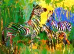 zebra family by leroy neiman painting