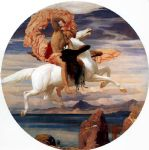 perseus on pegasus hastening to the rescue of andromeda by lord frederick leighton painting