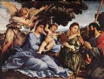 madonna and child with saints and an angel by lorenzo lotto painting