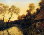 a french river landscape at sunset by louis aston knight painting