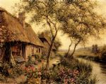 cottages beside a river by louis aston knight painting