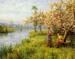 country women after fishing on a summer s day by louis aston knight painting