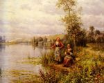 country women fishing on a summer afternoon by louis aston knight painting