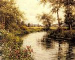 flowers in bloom by a river by louis aston knight painting