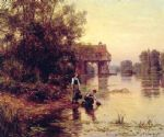 two girls by a stream by louis aston knight painting