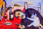 marc chagall man at table painting