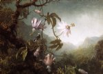 martin johnson heade hummingbird perched near passion flowers painting 29351