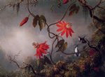martin johnson heade passion flowers and hummingbirds ii painting 29363