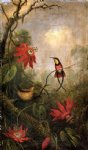 passion flowers and hummingbirds by martin johnson heade painting