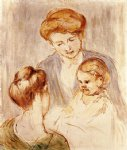 a baby smiling at two young women by mary cassatt painting
