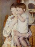 baby in his mother s arms sucking his finger by mary cassatt painting