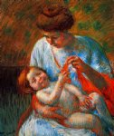 baby lying on his mother s lap reaching to hold a scarf by mary cassatt painting