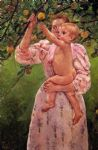 baby reaching for an apple aka child picking fruit by mary cassatt painting