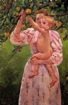 baby reaching for an apple by mary cassatt painting
