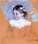 bust of ellen wiith bows in her hair by mary cassatt painting