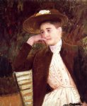 celeste in a brown hat by mary cassatt painting