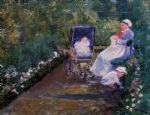 children in a garden by mary cassatt painting
