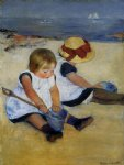 children on the shore by mary cassatt painting