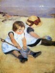 children playing on the beach by mary cassatt painting