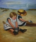 mary cassatt children playing on the beach ii painting 28851