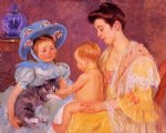children playing with a cat by mary cassatt painting