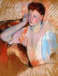 clarissa turned left with her hand to her ear by mary cassatt painting