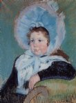 mary cassatt dorothy in a very large bonnet and a dark coat painting