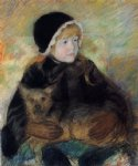 dog oil paintings - elsie cassatt holding a big dog by mary cassatt