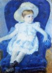 elsie in a blue chair by mary cassatt painting