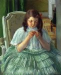 fran锟給ise in green sewing by mary cassatt painting