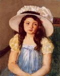 francoise wearing a big white hat by mary cassatt painting